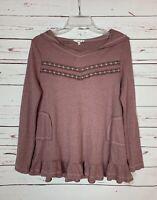 Easel Anthropologie Women's M Medium Mauve Waffle Thermal Cute Spring Top Shirt