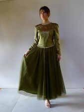 Vintage authentic 80s dress 10 S long ballerina green tulle Medwin couture