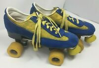 Vintage 70s Roller Skates Blue Suede shoes Wheels Yellow & Blue - S&S yellow
