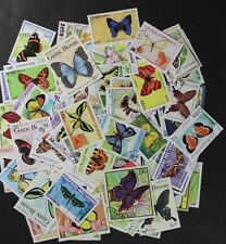 BUTTERFLIES & Moths wonderful stamp collection, 100 different stamps (#dp)