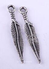 Lots 20Pcs 29x5mm Tibetan Silver Long Feather Leaf Shape Charms Pendants Finding
