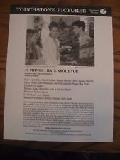 Touchstone Pictures Press Sheet Preview w/Photo 1999- 10 Things I Hate About You