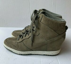 Nike Dunk Sky Hi Hidden Wedge 9.5 M Sneakers Olive Green Suede Leather High Top