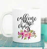 Funny Coffee Cup For Women Gift For Mom Caffeine And Choas Mug Best Friend Gift