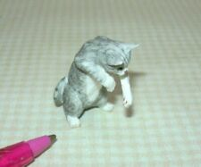 Miniature Sitting GREY Resin Cat, BATTING: DOLLHOUSE 1:12