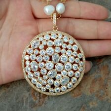 25'' 4 Rows White Pearl Chain Necklace 50MM Cz Pave Pendant