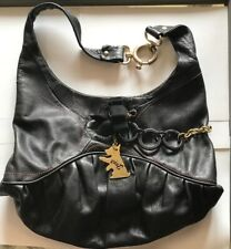 Juicy Couture Large Black Leather Pink Gold Tone Dog Tag Satchel Tote Hand Bag