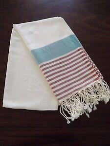 Turkish Cotton & Bamboo Bath Beach Towel Peshtemal Turquoise Red Marina Series