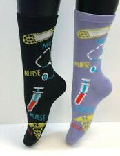 2 PAIRS Foozys Women's Socks NURSE Print, Stethoscope, Bandage, Syringe, NEW