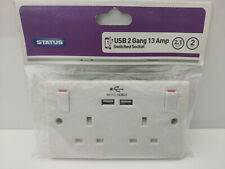 Status 13A 2 Gang Switched Wall Socket with 2 USB Ports New