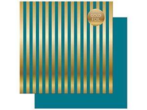 Echo Park: 12x12 Dots & Stripes:  Blue with Gold Stripes 2pc Scrapbook Paper