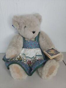 "1994 Vermont Teddy Bear Company, 16"" Beige Teddy, Blue Dress, Original Tags"