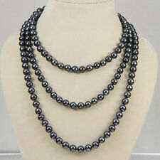 NATURAL 7-8 MM TAHITIAN BLACK PEARL NECKLACE AA Long 50 Inches