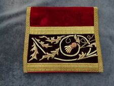 Antique French Embroidery Gold Metallic on Burgundy Velvet  Wallet  19th