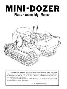 Struck MD-40 Mini Dozer Plans, Operator Instruction & Service Parts Manual 1968