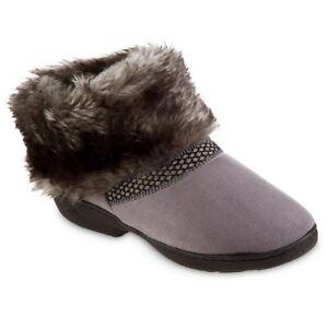 Women's isotoner Indoor/Outdoor Gray Fur Ankle Bootie Slipper -  Large 8/9