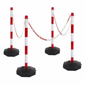 Red & White Safety Crowd Barrier Security Fence Post Base Set &10m Plastic Chain