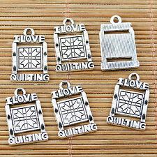 12pcs Tibetan silver I LOVE QUILTING charms EF1684
