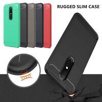 For Nokia 3.1 X6 6.1 Plus 7.1 Slim Carbon Fiber Hybrid Rugged Rubber Case Cover