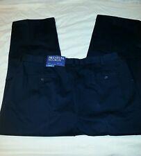 CROFT & BARROW Classic Fit Premium No Iron Pleated Khaki Navy Pants 32x32  NWT