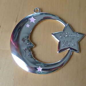 Reed & Barton Baby's Girl First Christmas Pink Moon Silver Plated Ornament