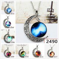 Stylish Women Galaxy Universe Crescent Moon Glass Cabochon Pendant Necklace Gift