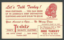 1955 San Diego Ca Todds Mens Clothes Free Turkey For Xmas