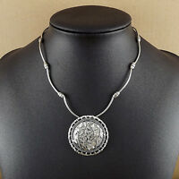 Bohemian round leaf Pendant Tibetan Silver vintage Necklace Women Girl Jewelry