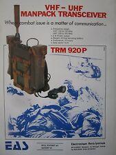 5/1977 PUB EAS ELECTRONIQUE EMETTEUR RECEPTEUR TRM 920 P VHF UHF FRENCH AD
