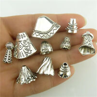 10pcs Mix Vintage Totem Leaves Tower Sector Tassels End 19-9mm Spacer Beads Cap