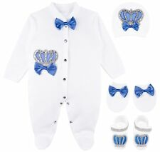 Lilax Baby Boy Jewels Crown Layette 4 Piece Gift Set 0-3 M Royal Blue