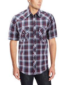 Men's Casual Cowboy Short Sleeve Button Down Plaid Pearl Snap Western Shirt