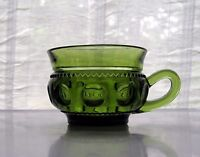 Indiana Colony Glass Olive Green Kings Crown 8 ounce Cup