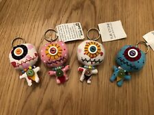 MINI ZOMBIE ONE EYED MONSTER CUTE KEY RINGS X 4  - GREAT FOR PARTY BAGS