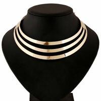 Damen Mehrschichtig Metallic Halsketten Anhänger Halsreif Bib Statement MOD M5Y1