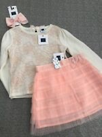 NWT Janie And Jack girl WINTER 3-piece pink flower sweater Tulle Skirt SET 2 2T
