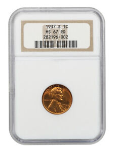 1937-S 1c NGC MS67 RD - Lincoln Cent