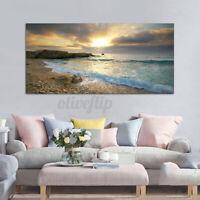 Art Wall Beach Canvas Print Ocean Wave Sunset Sea Painting l Home Decor No Frame