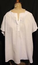 SPORTSCRAFT ~ White Lightweight Floaty Cotton Shot Sleeve Summer Blouse Top 18