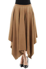 DROME New Woman Brown LAMB LEATHER Pleated Asymmetrical A-Line Long Skirt Size S