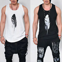Men's Sleeveless Tank Top T-shirt Fitness Singlets Vest Feather Print Tee Tops