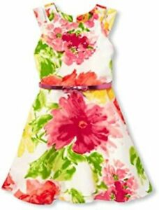 The Children's Place Sleeveless Belted Floral Dress Sz 6x-7 NWT RTL $40