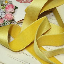 "1y FRENCH SILK VELVET RIBBON 7/8"" YELW MILLINERY HAT TRIM FLOWER BOHO CHOKER VTG"