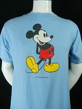 Vintage Mickey Mouse JERZEES Graphic Print Short Sleeve Blue Cotton T Shirt L