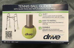 NEW PAIR DRIVE TENNIS BALL GLIDES WITH GLIDE PADS & REPLACEMENT GLIDE PADS 10121