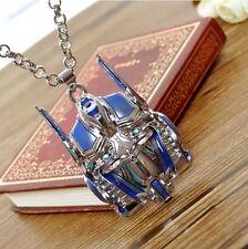Movies Transformers Blue Badge Pendant Optimus Prime Mask Vintage Men's Necklace
