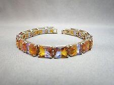 Monet 80s Rhinestone Bracelet Emerald Cut Crystal Lavender Amber Excellent Gold