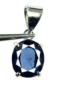 18.30 Ct Natural Oval Blue Sapphire 925 Sterling Silver Pendant Certified K8952