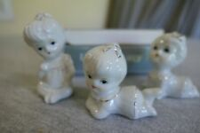 "New Vintage Hand Painted Porcelain Set of 3 Baby Girl Figurines H1122W 2""-3"" H"