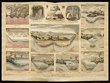 Rare 1853ca - La géologie (et fossiles) - Planche encyclopédique, scolaire
